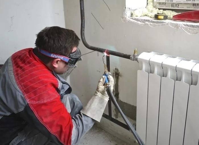 установка радиаторов отопления газосваркой